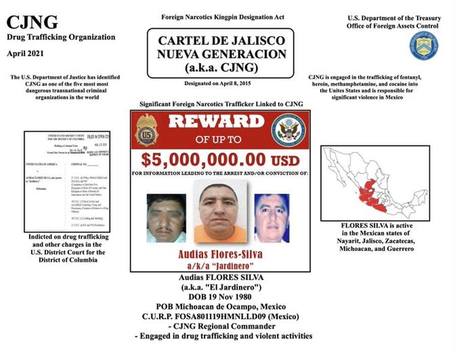 EE.UU. sanciona a cabecilla de cártel mexicano y ofrece recompensa por datos