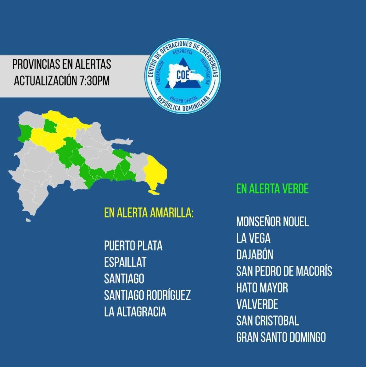 Suman 13 las provincias en alerta debido a vaguada y sistema frontal