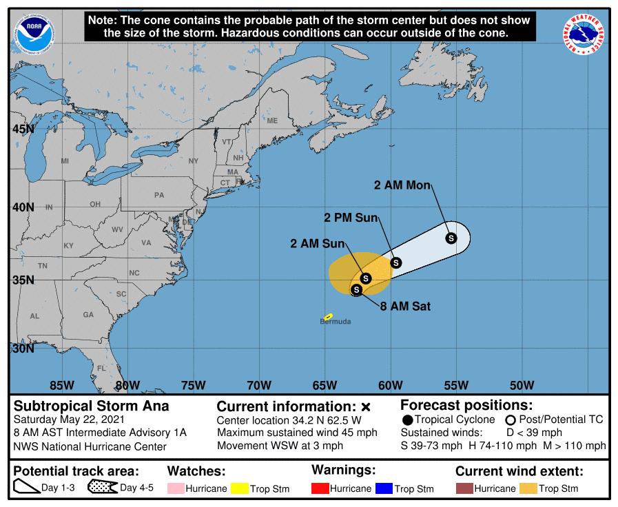 La tormenta subtropical Ana se forma en el Océano Atlántico