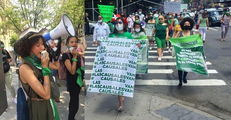 Dominicanas marchan en el Alto Manhattan a favor tres causales