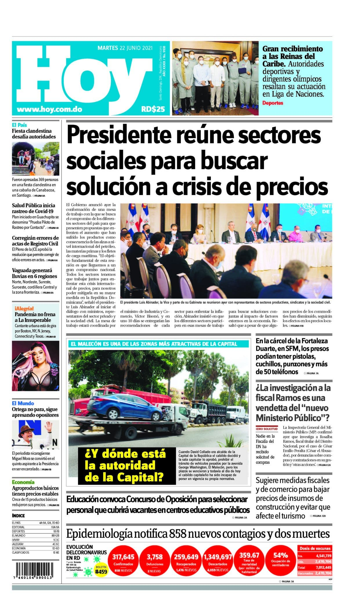 Edición impresa HOY martes 22 de junio del 2021