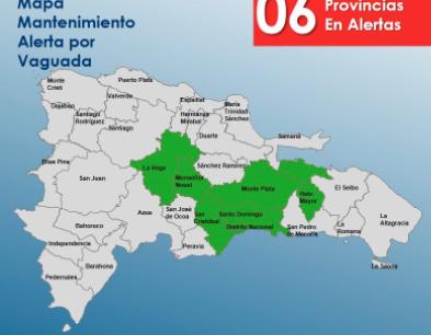 COE mantiene seis provincias en alerta verde por lluvias
