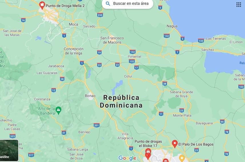 Confirmado: En Google Maps aparecen puntos de droga en República Dominicana