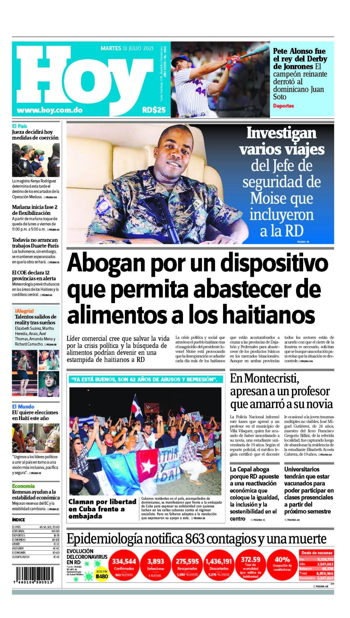 Edición impresa HOY martes 13 julio del 2021