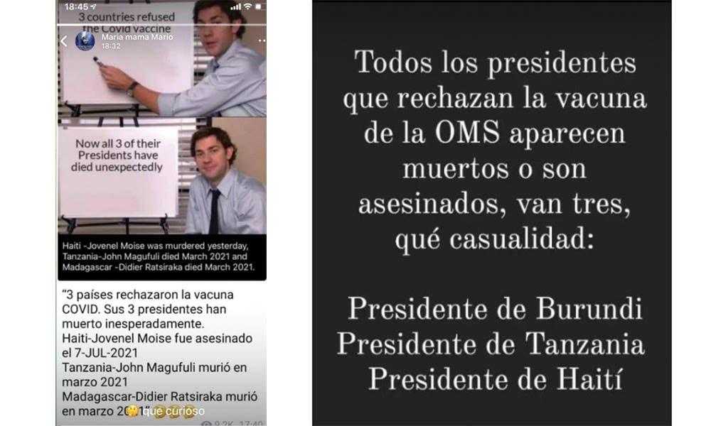 Niegan muerte de tres presidentes por rechazar vacuna COVID