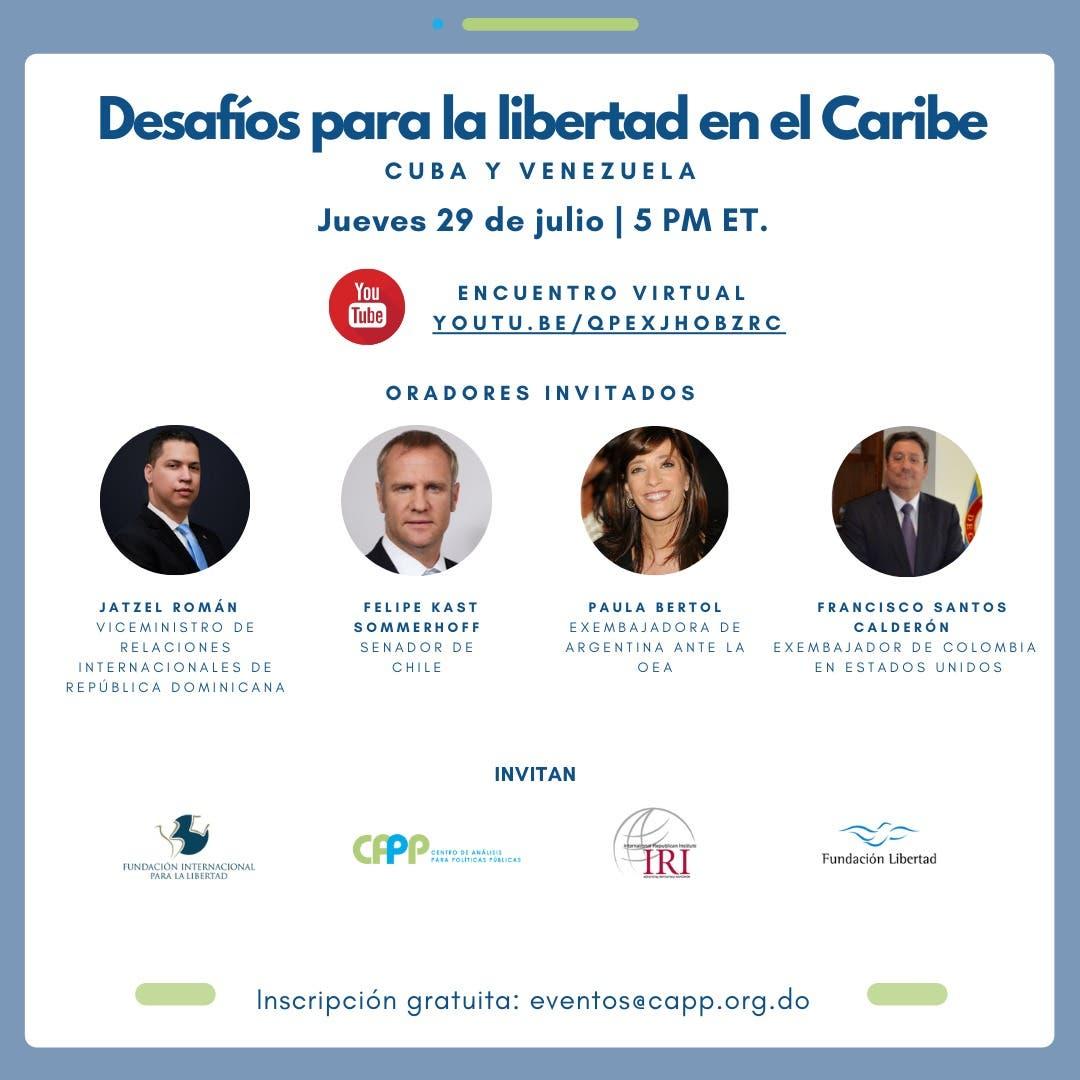 """Presentarán conferencia """"Desafíos para la Libertad en el Caribe, Cuba y Venezuela"""""""