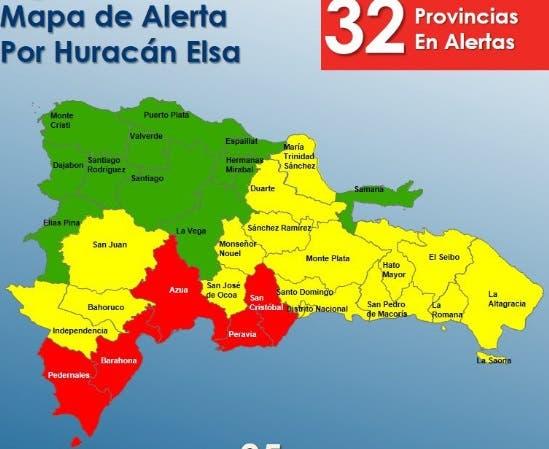 COE sube a 32 las provincias en alerta ante el paso de Elsa