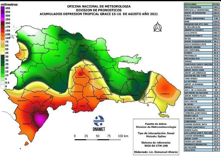 ONAMET: Barahona y Santo Domingo recibieron mayor cantidad de agua de Grace