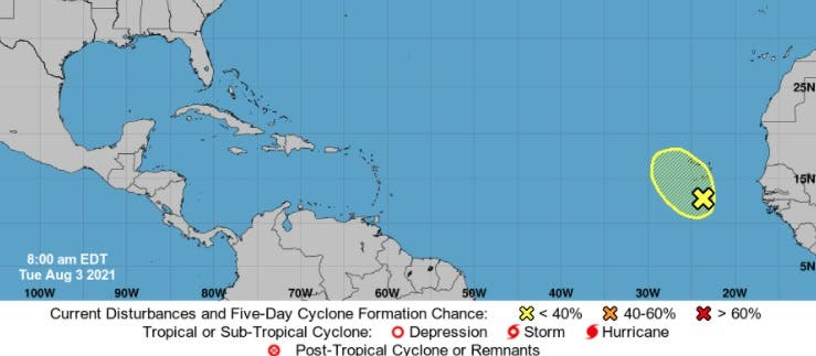 Onamet: Desorden en costa de África, con pocas posibilidades de convertirse en ciclón; no representa peligro para RD