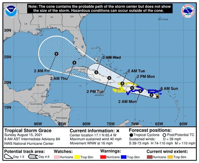 Tormenta Grace se mueve cerca de Puerto Rico y pone en alerta a Haití