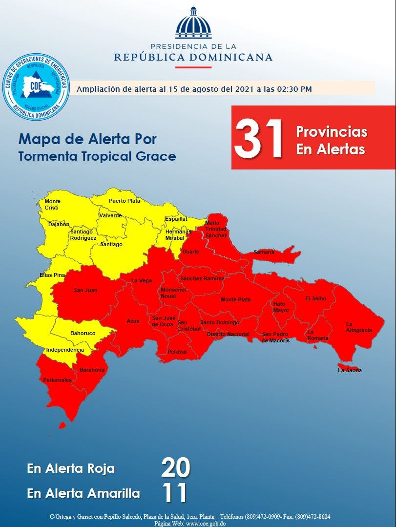 Tormenta Tropical Grace: 20 provincias en alerta roja y 11 en amarilla