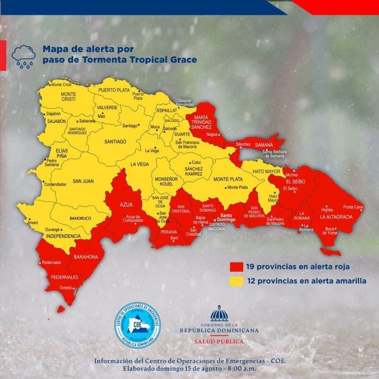 Por tormenta tropical Grace, hay 12 provincias en alerta roja y 19 en amarilla