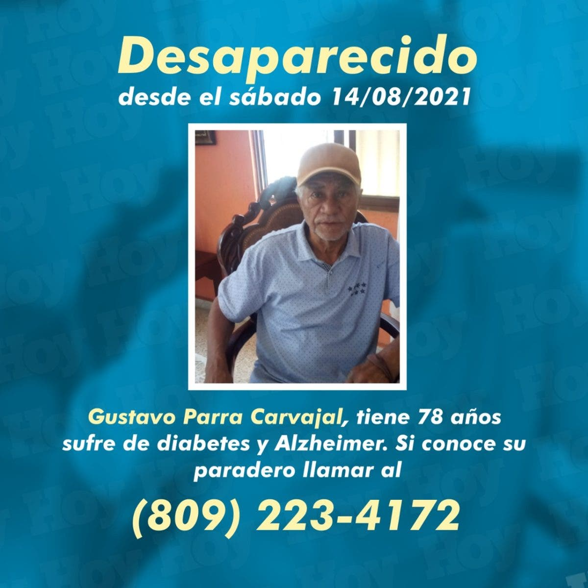 Don Gustavo Parra desapareció; familia lo busca desesperadamente