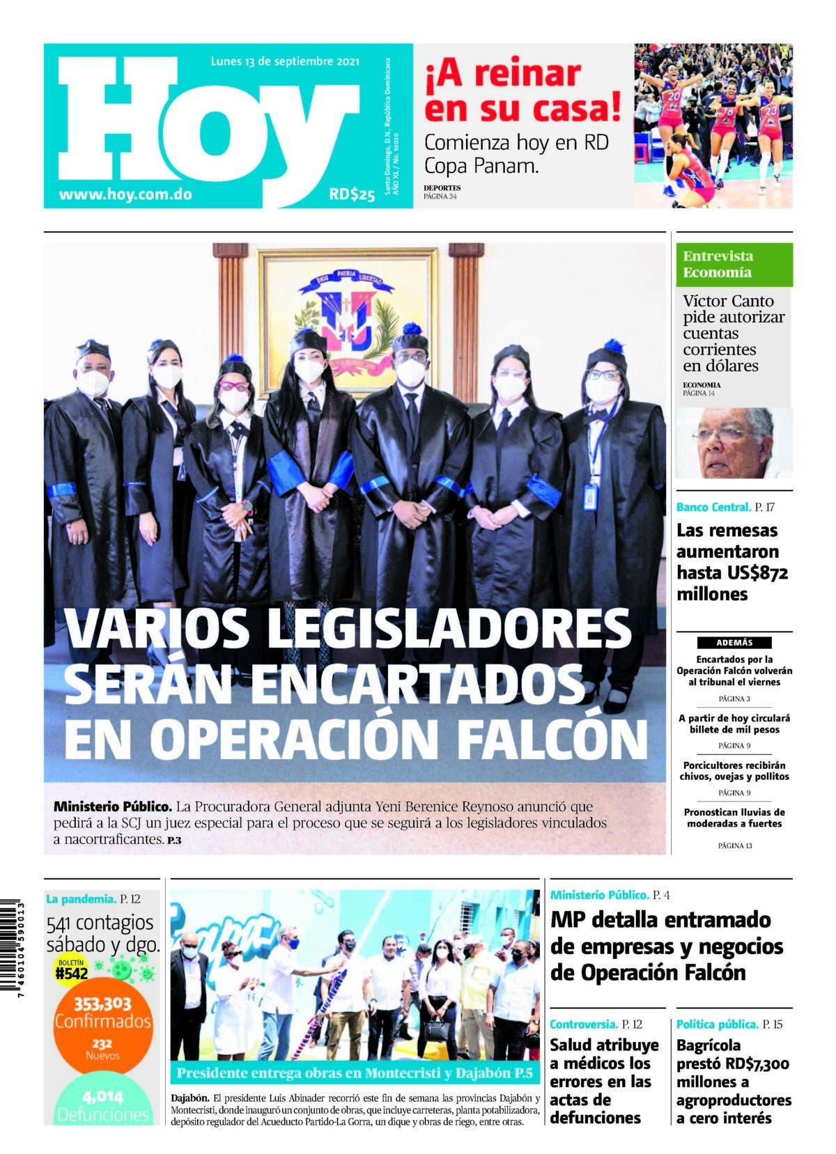 Edición impresa HOY lunes 13 de septiembre del 2021