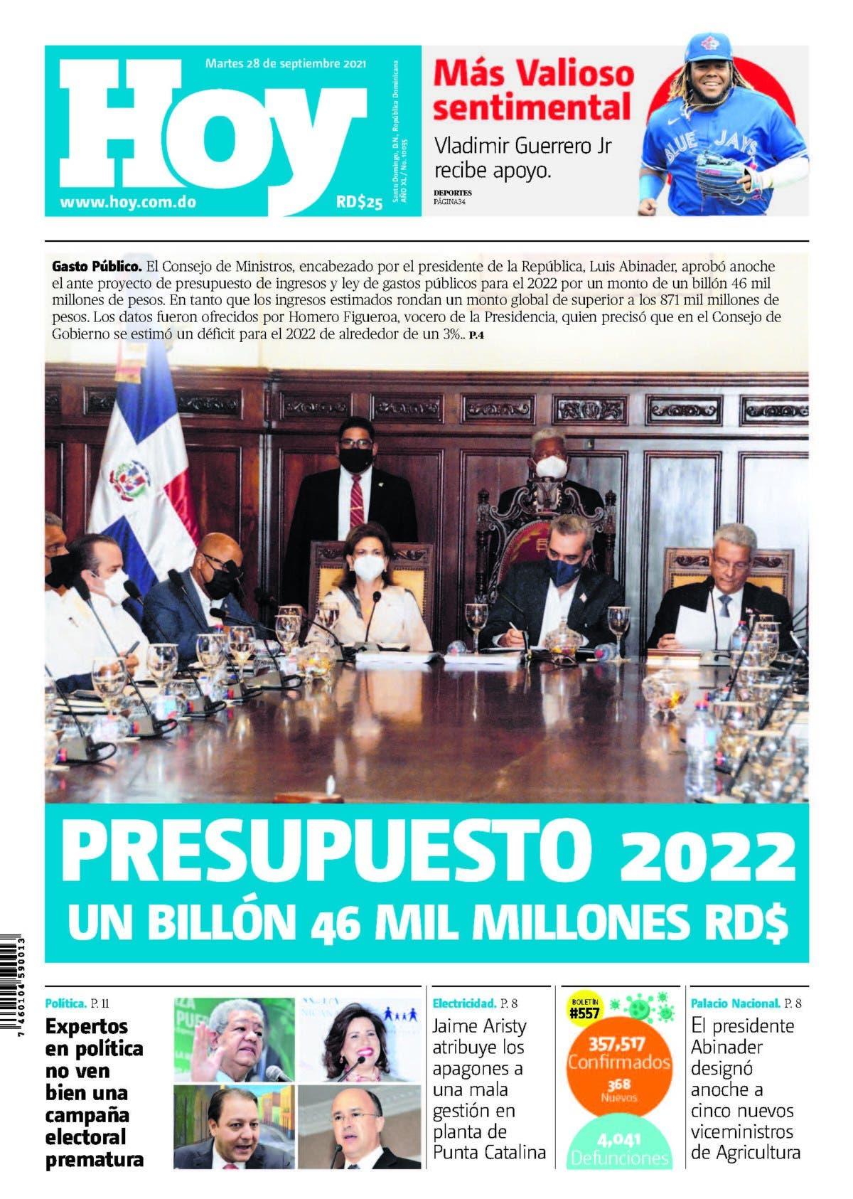Edición impresa HOY martes 28 de septiembre del 2021