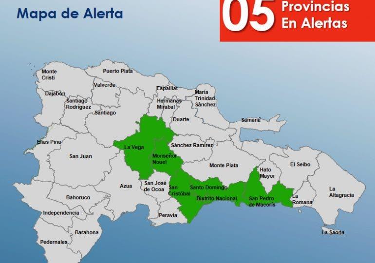 COE: Cinco provincias están en alerta verde por los efectos de una vaguada