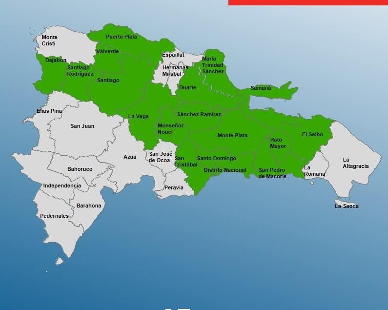 COE aumenta a 17 las provincias en alerta verde por vaguada