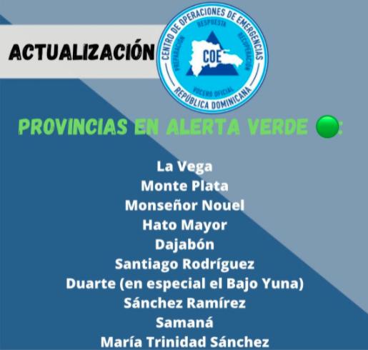 COE aumenta a 10 las provincias en alerta verde