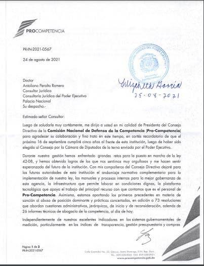 Presidenta de Procompetencia solicita auditoría a 10 días de finalizar gestión