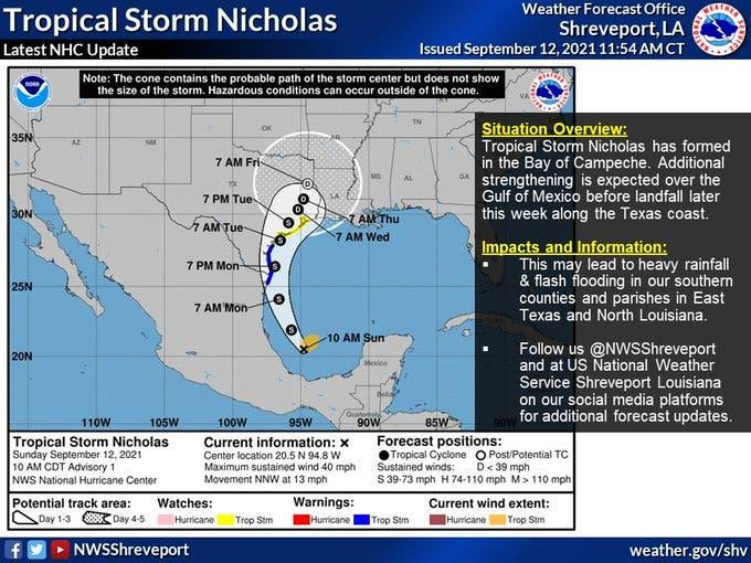 Nicholas, que puede ser huracán, se acerca a Texas y el noroeste de México