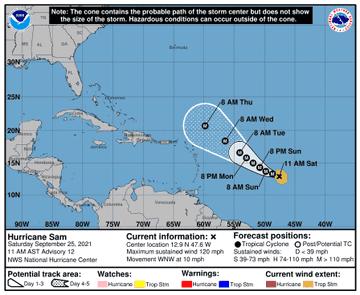 Sam gana fuerza en el Atlántico y ahora es huracán de categoría 3
