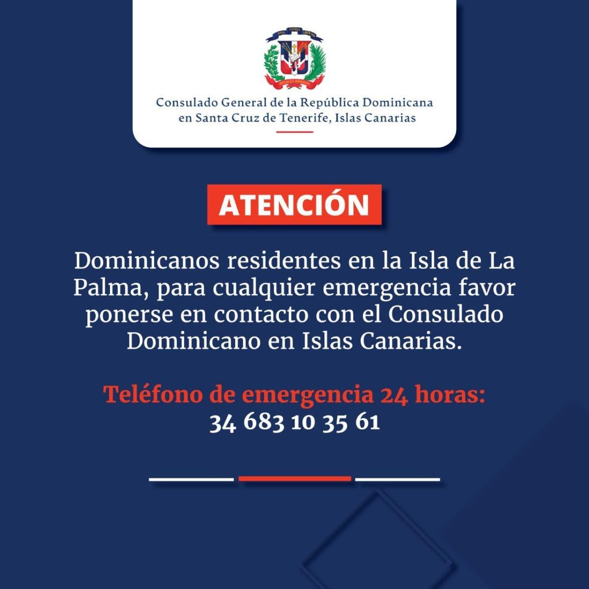 Consulado Dominicano en Islas Canarias habilita línea de ayuda tras erupción volcánica
