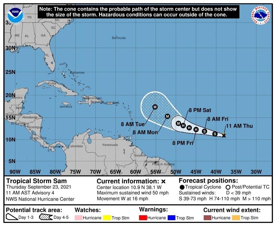 Tormenta Sam amenaza con convertirse en huracán para este viernes