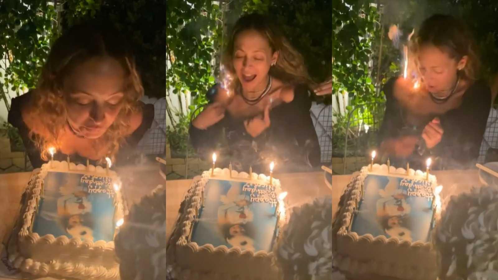 Mira cómo el cabello de Nicole Richie se incendia mientras celebraba su cumpleaños