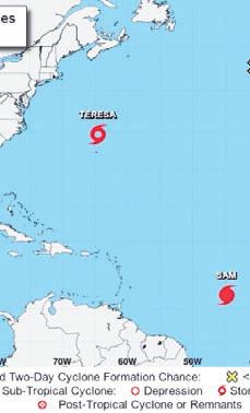 Se forma tormenta subtropical Teresa; huracán Sam se fortalece