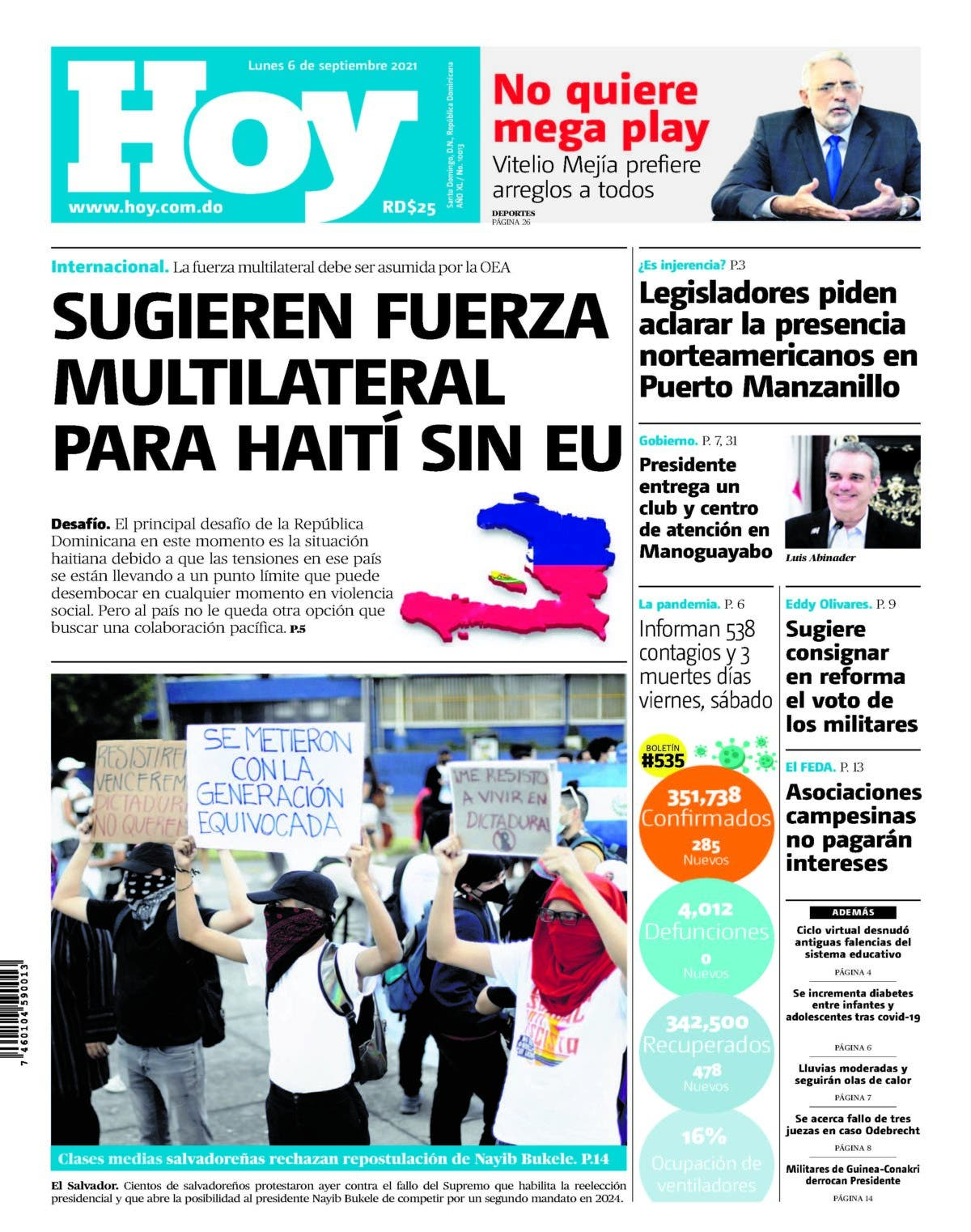 Edición impresa, HOY, lunes 06 de septiembre 2021