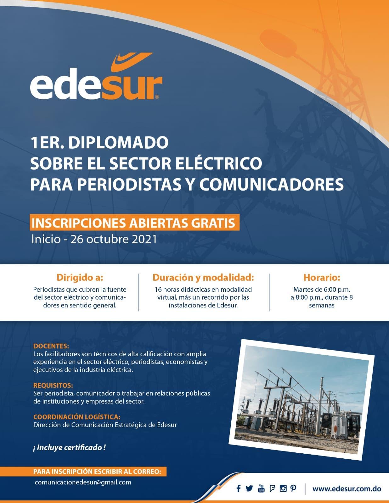 Edesur invita a periodistas y comunicadores a diplomado sobre el sector eléctrico