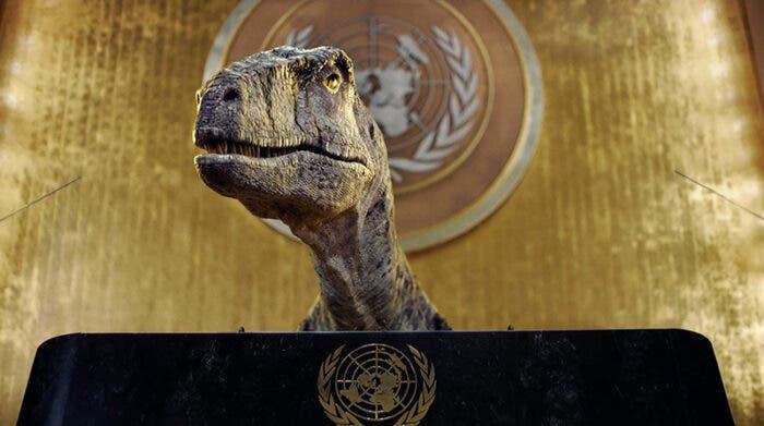 Dinosaurio ocupa la ONU para exigir a los humanos que no se extingan