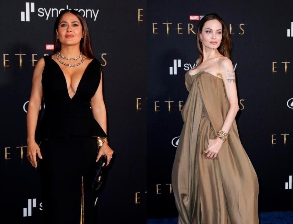 """Salma Hayek y Angelina Jolie deslumbran en el estreno de """"Eternals"""""""